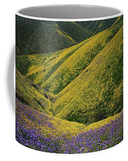 Yellow And Purple Wildlflowers Adourn The Temblor Range At Carrizo Plain National Monument Coffee Mug by Jetson Nguyen