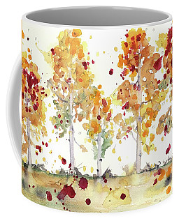 Coffee Mug featuring the painting Yellow Aspens by Dawn Derman