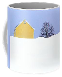 Yellow Barn In Snow Coffee Mug