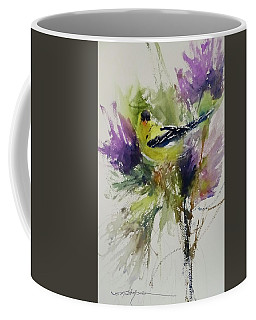 Yellow Bird In The Thistles Coffee Mug