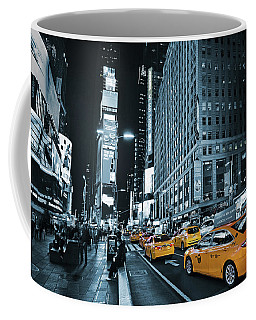 Yellow Broadway At Night - Nyc Coffee Mug