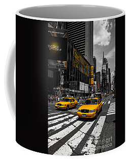 Yellow Cabs Cruisin On The Times Square  Coffee Mug