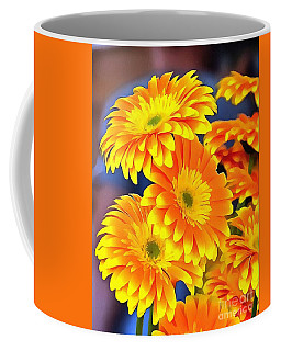 Coffee Mug featuring the painting Yellow Flowers In Thick Paint by Catherine Lott