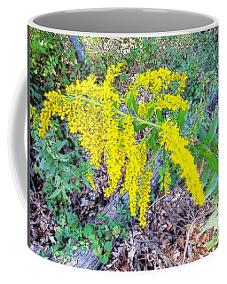 Yellow Flowers On Green Coffee Mug by Craig Walters