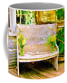 Yellow Flowers On Porch Bench Coffee Mug