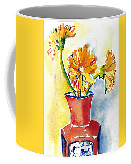 Yellow Gerbera Daisies In A Red And Blue Delft Vase Coffee Mug