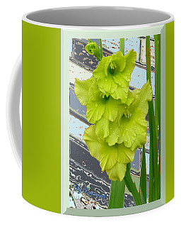 Coffee Mug featuring the pyrography Yellow Gladiolas by Elly Potamianos