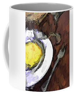 Yellow Lemon In A White Bowl With A Fork And A Wine Glass Coffee Mug