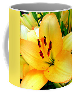 Coffee Mug featuring the photograph Yellow Lilies 1 by Randall Weidner