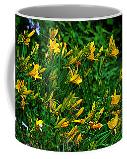 Coffee Mug featuring the photograph Yellow Lily Flowers by Susanne Van Hulst