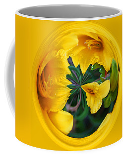 Coffee Mug featuring the photograph Yellow Lily Orb by Bill Barber