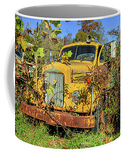 Coffee Mug featuring the photograph Yellow Mack Truck by Jerry Gammon
