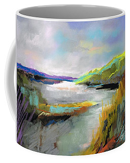 Coffee Mug featuring the painting Yellow Mountain by Frances Marino