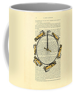 Yellow Oldtimers On A Bicycle Wheel Antique Illustration On Book Page Coffee Mug