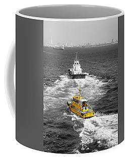 Yellow Pilot Yokohama Port Coffee Mug by Susan Lafleur