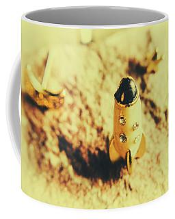 Yellow Rocket On Planetoid Exploration Coffee Mug