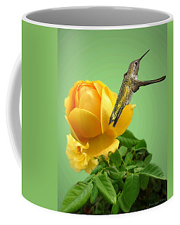 Yellow Rose And Hummingbird 2 Coffee Mug