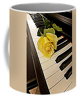 Yellow Rose On Piano Keys Coffee Mug