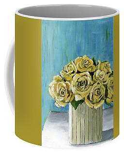 Yellow Roses In Vase Coffee Mug