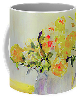 Coffee Mug featuring the painting Yellow Roses by Lisa Kaiser