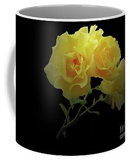Yellow Roses On Black Coffee Mug
