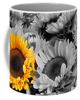 Yellow Sunflower On Black And White Coffee Mug