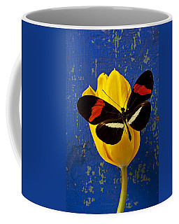 Yellow Tulip With Orange And Black Butterfly Coffee Mug