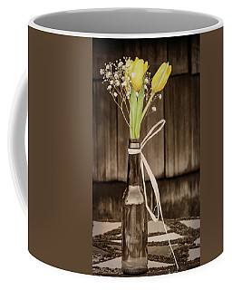 Yellow Tulips In Glass Bottle Sepia Coffee Mug by Terry DeLuco
