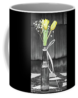 Yellow Tulips In Glass Bottle Coffee Mug by Terry DeLuco