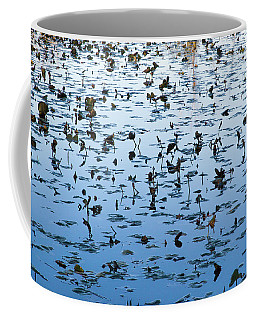 Yellow Water Lilies In Deep Silhouette Coffee Mug