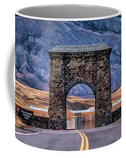Coffee Mug featuring the painting Yellowstone National Park North Entrance by Christopher Arndt