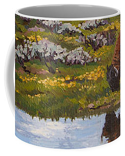 Coffee Mug featuring the painting Yellowstone Reflections by Erin Fickert-Rowland