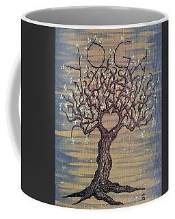 Coffee Mug featuring the drawing Yoga Love Tree by Aaron Bombalicki