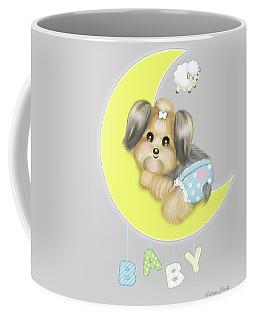 Coffee Mug featuring the painting Yorkie Fofa Baby by Catia Lee
