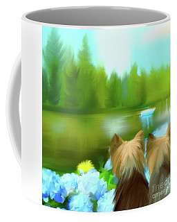 Yorkies At The Lago Negro Coffee Mug