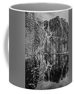 Coffee Mug featuring the photograph Yosemite Falls From The Swinging Bridge In Black And White by Bill Gallagher