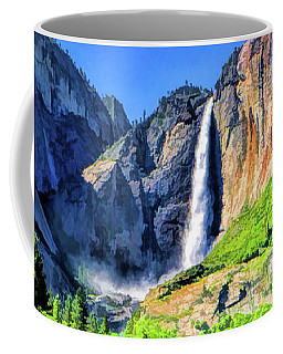 Coffee Mug featuring the painting Yosemite National Park Bridalveil Fall by Christopher Arndt