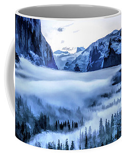 Coffee Mug featuring the painting Yosemite National Park Tunnel View Snowy Morning by Christopher Arndt