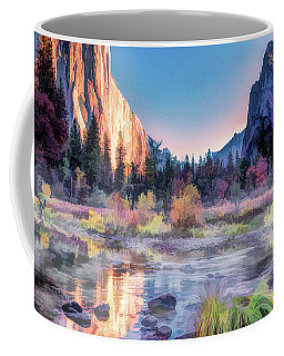 Coffee Mug featuring the painting Yosemite National Park Valley by Christopher Arndt