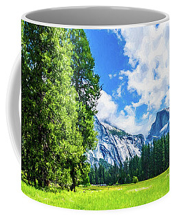 Yosemite Valley And Half Dome Digital Painting Coffee Mug