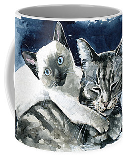 Coffee Mug featuring the painting You Are Mine - Cat Painting by Dora Hathazi Mendes