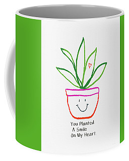 Coffee Mug featuring the mixed media You Planted A Smile- Art By Linda Woods by Linda Woods