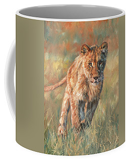 Coffee Mug featuring the painting Youn Lion by David Stribbling