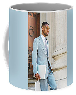 Young African American Businessman Working In New York Coffee Mug