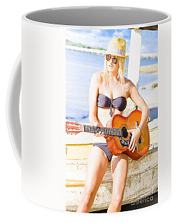 Young Attractive Blonde Woman Playing Guitar Coffee Mug