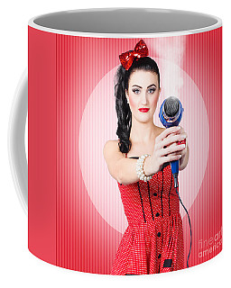 Young Beautiful Girl With Hairdryer. Hair Care Coffee Mug
