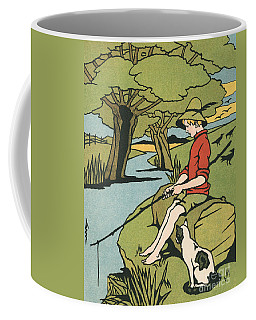 Young Boy Sitting On A Log Fishing In A Small River In The Country With His Cat Coffee Mug
