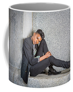 Coffee Mug featuring the photograph Young Boy Thinking Outside 15042650 by Alexander Image