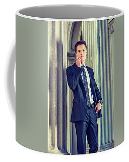 Coffee Mug featuring the photograph Young Businessman Working In New York 15042513 by Alexander Image