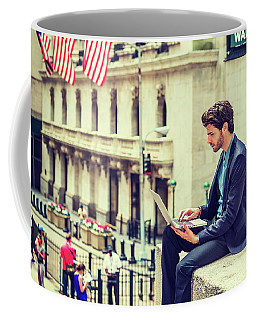 Young Businessman Working On Wall Street In New York Coffee Mug